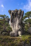Stolowe Mountains in Poland. Foot shaped rock on Szczeliniec Wielki in Table Mountains National Park, one of the biggest tourist attractions of the Polish Stock Photos
