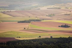 Stolowe Mountains in Poland. Patchwork fields seen from Szczeliniec Wielki massif in Table Mountains National Park, Sudetes in Poland Royalty Free Stock Photography