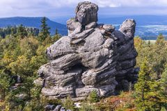 Stolowe Mountains in Poland. Rock formation on Szczeliniec Wielki in Table Mountains National Park, one of the biggest tourist attractions of the Polish Sudetes Stock Image