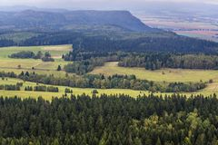 Stolowe Mountains in Poland. Rural area around Szczeliniec Wielki massif in Table Mountains National Park, Sudetes in Poland Stock Images