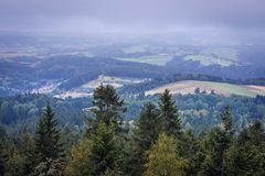 Stolowe Mountains in Poland. View from tourist attraction of Table Mountains called Errant Rocks in Sudetes, Poland Royalty Free Stock Photos