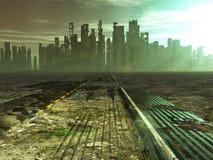Stolpe-apokalyptisk stad royaltyfri fotografi