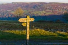 Stolpe för UK-vandringsledfinger som fångar solen Royaltyfri Fotografi