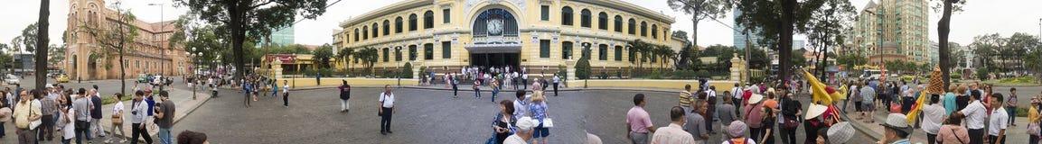 Stolpe - kontor i Ho Chi Minh - panorama Arkivfoto