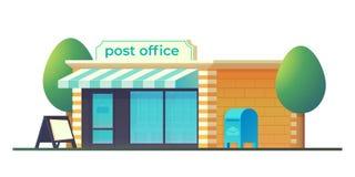 Stolpe - kontorsbyggnad med brevlådan Post- hems?ndning stock illustrationer