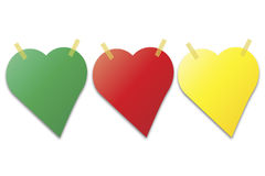 Stolpe som den noterar i formen av hjärta Arkivbild