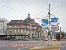 Stolpebyggnad i Lucerne Arkivbilder