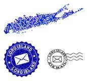 Stolperörelsecollage av den mosaiska översikten av Long Island och Grungestämplar vektor illustrationer
