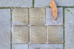 Stolpersteine Nijkerk. That recall the Jewish Family of Joseph de Rather, Netherlands Royalty Free Stock Photos
