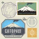 Stolpestämpeluppsättning med den Cotopaxi vulkan royaltyfri illustrationer