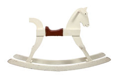 stolsbarnhäst som vaggar vitt trä Arkivbilder