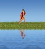 stolscollage nära röd sittande vattenkvinna fotografering för bildbyråer