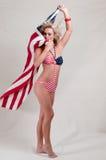 stolt amerikanska flagganflicka Fotografering för Bildbyråer