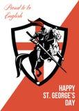 Stolt att vara engelsk lycklig St George Day Retro Poster Arkivfoton