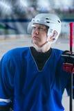 Stolt hockeyspelare Arkivbilder