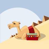Stolt kamelhusvagn av ökenvektorillustrationen Royaltyfria Bilder
