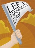 Stolta vänstra Hander som firar den lämnade Handers dagen i soluppgången, vektorillustration royaltyfri illustrationer