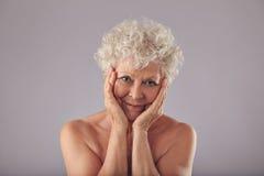 Stolz auf ihre Hautzustand am hohen Alter Stockfotos
