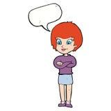 stolze Frau der Karikatur mit Spracheblase Stockbilder