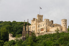 Stolzenfels Castle near Koblenz, Rhine Valley, Germany. Rhine Valley, Germany - July 17, 2015: This tele-photo shot of the 13th century English-style castle in royalty free stock photo