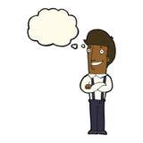 stolzer Mann der Karikatur mit Gedankenblase Stockbilder