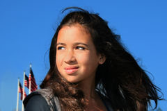 Stolzes amerikanisches Mädchen lizenzfreies stockbild