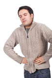 Stomach ache. Young man suffering from stomach ache Stock Images