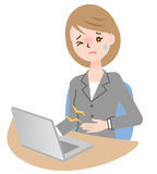 Stomach ache businesswoman. Businesswoman suffer from stomach ache at her desk Royalty Free Stock Photo