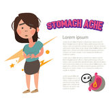 Stomach ache character -  Royalty Free Stock Image