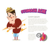 Stomach ache character -. Illustration Stock Image