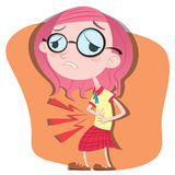 Stomach ache girl Royalty Free Stock Images