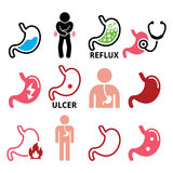 Stomach disease- reflux, ulcer  icons set. Human body part - stomach design  on white, health icons set Royalty Free Stock Photo