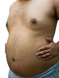 Stomach of fatman Royalty Free Stock Photos