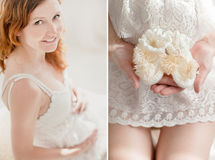 Stomach and hands of pregnant woman Stock Image