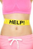 Stomach help - woman with body weight problems Stock Images