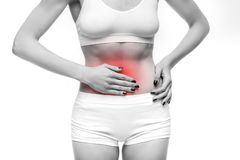 Stomach pain, woman with problem during menses royalty free stock image