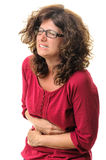 Stomach pain woman Stock Photo