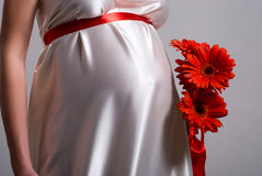 Stomach of the pregnant woman and flowers Royalty Free Stock Photography