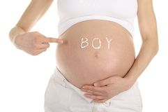 Stomachs of pregnant women with the inscription Royalty Free Stock Photos