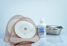 Stomahesive protective powder. Stomahesive product of Convatec. Stoma care products and one piece drainable ileostomy or colostomy stock images