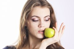 Stomathology perfect smile with green apple Stock Image