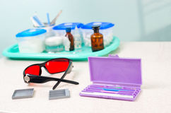Stomatological instrument in the dentists clinic. Operation, tooth replacement. Stomatological instrument in the dentists clinic. Dental background: work in Stock Photo