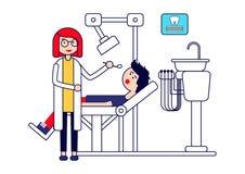 Stomatologiczna opieka lub traktowanie Żeński dentysta egzamininuje pacjenta ząb pojedynczy białe tło royalty ilustracja