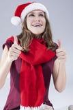 Stomatologiczni traktowań pojęcia Szczęśliwy Uśmiechnięty Kaukaski nastolatek w Santa kapeluszu Z zębów wspornikami Obrazy Royalty Free