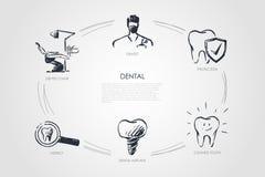 Stomatologiczny - dentysta, dentysty krzesło, sprawdza, stomatologiczny wszczep, czyścić ząb, ochrony pojęcia set royalty ilustracja
