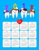 Stomatologiczny kalendarz Szczęśliwy nowy rok 2018 Zdjęcia Stock