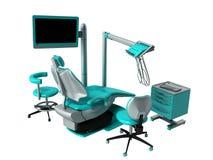 Stomatologiczny krzesło z błękitnymi wezgłowie stołami 3d odpłaca się na białym backgro Obraz Royalty Free