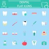 Stomatologiczny płaski ikona set, stomatology symbole kolekcja, medycyny kolorowa bryła odizolowywająca na błękitnym tle, eps 10 Zdjęcia Royalty Free