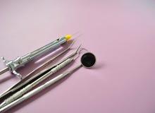 Stomatologiczny wyposażenie na stomatologicznej jednostce zdjęcie stock
