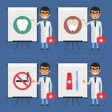 Stomatologist indicates on flip chart Stock Images